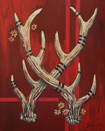 """Kelly Halpin, """"Elk Antlers on Red"""""""